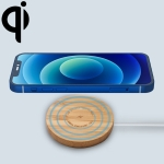 JYD01 15W Round Bamboo Wood Magnetic Wireless Charger for iPhone 12 Series