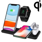 Q20 4 In 1 Wireless Charger Charging Holder Stand Station For iPhone / Apple Watch / AirPods, Support Dual Phones Charging (Black)
