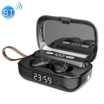 A13 TWS CVC8.0 and DSP Dual Noise Reduction Touch Bluetooth Earphone with Charging Box, Support LED Digital Display & Clock & Flashlight & HD Call & Siri & Power Bank (Black)