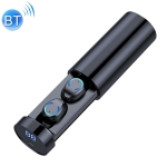 F9-6 TWS CVC8.0 Noise Reduction Touch Bluetooth Earphone with Pull-out Cylindrical Charging Box, Support LED Power Digital Display & Call & Siri (Black)