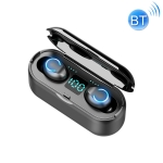 F9-8 TWS CVC8.0 Noise Reduction Touch Mini Bluetooth Earphone with Charging Box, Support Three-screen LED Power Display & Mobile Phone Holder & Call & Voice Assistant (Black)