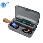 F9-5C Blue Flood Solution Touch Bluetooth Earphone with Magnetic Charging Box, Support Three-screen LED Power Display & Power Bank & Call & Siri & Hand Strap (Black)