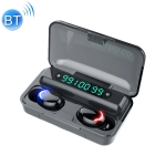 F9-5C Blue Flood Solution Touch Bluetooth Earphone with Magnetic Charging Box, Support Three-screen LED Power Digital Display & Power Bank & Call & Siri (Black)