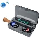 F9-5C Blue Flood Solution Touch Bluetooth Earphone with Magnetic Charging Box, Support Three-screen LED Power Digital Display & Power Bank & Call & Siri & Hand Strap (Black)