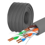 NUOFUKE 058 CAT 6E 8 Core Oxygen-Free Copper Gigabit Home Network Cable, Cable Length: 300m(Dark Gray)