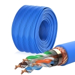 NUOFUKE 056 Double Shielding CAT 6E 8 Core Oxygen-Free Copper Gigabit Home Network Cable, Cable Length: 300m(Blue)