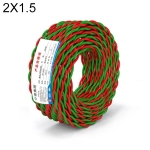 NUOFUKE 100m 2 Core 1.5 Square RVS Pure Oxygen-free Copper Core Twisted-pair Household Electrical Cable(Red and Green)