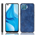 For OPPO F17 Pro / A93 / Reno4 Lite Shockproof Sewing Cow Pattern Skin PC + PU + TPU Case(Blue)