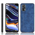 For OPPO Realme 7 Pro Shockproof Sewing Cow Pattern Skin PC + PU + TPU Case(Blue)