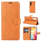 For Xiaomi Mi Note 10 Lite Retro Calf Pattern Buckle Horizontal Flip Leather Case with Holder & Card Slots & Wallet(Yellow)