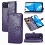 For OPPO F17 Mandala Flower Embossed Horizontal Flip Leather Case with Bracket / Card Slot / Wallet / Lanyard(Purple)