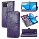 For OPPO F17 Mandala Flower Embossed Horizontal Flip Leather Case with Bracket / Card Slot / Wallet / Lanyard(Purple)