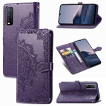 For vivo Y20 Mandala Flower Embossed Horizontal Flip Leather Case with Bracket / Card Slot / Wallet / Lanyard(Purple)