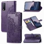 For vivo Y20 Mandala Flower Embossed Horizontal Flip Leather Case with Bracket / Card Slot / Wallet / Lanyard(Purple)
