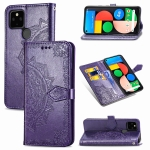 For Google Pixel 4a 5G Mandala Flower Embossed Horizontal Flip Leather Case with Bracket / Card Slot / Wallet / Lanyard(Purple)