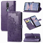 For Nokia 2.4 Mandala Flower Embossed Horizontal Flip Leather Case with Bracket / Card Slot / Wallet / Lanyard(Purple)