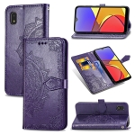 For Samsung Galaxy A21 (JP Version) Mandala Flower Embossed Horizontal Flip Leather Case with Bracket / Card Slot / Wallet / Lanyard(Purple)