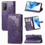 For Xiaomi Mi 10T / Redmi K30S Mandala Flower Embossed Horizontal Flip Leather Case with Bracket / Card Slot / Wallet / Lanyard(Purple)