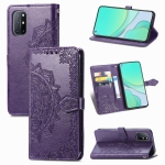 For OnePlus 8T Mandala Flower Embossed Horizontal Flip Leather Case with Bracket / Card Slot / Wallet / Lanyard(Purple)