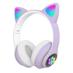 TN-28 3.5mm Bluetooth 5.0 Dual Connection RGB Cat Ear Bass Stereo Noise-cancelling Headphones Support TF Card With Mic(Purple)