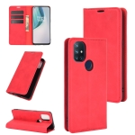 For OnePlus Nord N10 5G Retro-skin Business Magnetic Suction Leather Case with Holder & Card Slots & Wallet(Red)