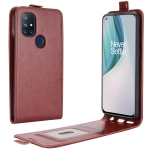 For OnePlus Nord N10 5G R64 Texture Single Vertical Flip Leather Protective Case with Card Slots & Photo Frame(Brown)