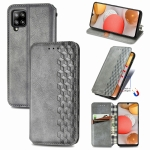 For Samsung Galaxy A42 5G Cubic Grid Pressed Horizontal Flip Magnetic PU Leather Case with Holder & Card Slots & Wallet(Gray)