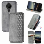 For Nokia  3.4 Cubic Grid Pressed Horizontal Flip Magnetic PU Leather Case with Holder & Card Slots & Wallet(Gray)