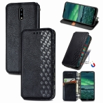 For Nokia 2.3 Cubic Grid Pressed Horizontal Flip Magnetic PU Leather Case with Holder & Card Slots & Wallet(Black)