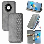 For Huawei Mate 40 Cubic Grid Pressed Horizontal Flip Magnetic PU Leather Case with Holder & Card Slots & Wallet(Gray)