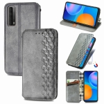 For Huawei P Smart 2021 Cubic Grid Pressed Horizontal Flip Magnetic PU Leather Case with Holder & Card Slots & Wallet(Gray)