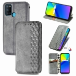 For OPPO Realme 7i / C17 Cubic Grid Pressed Horizontal Flip Magnetic PU Leather Case with Holder & Card Slots & Wallet(Gray)