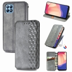 For OPPO Reno4 SE Cubic Grid Pressed Horizontal Flip Magnetic PU Leather Case with Holder & Card Slots & Wallet(Gray)