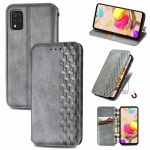 For LG K42 Cubic Grid Pressed Horizontal Flip Magnetic PU Leather Case with Holder & Card Slots & Wallet(Gray)