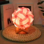 Creative Bedroom Bedside Night Light USB Round Romantic Room Decoration Lamp with Wood Base, Style: Finished Product(Pink)