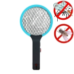 Electric Mosquito Swatter Rechargeable Household Fly Swatter Portable Car Mosquito Swatter, CN Plug(Sky Blue)