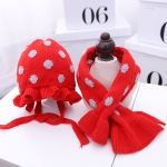C0109 2 in 1 Dot Double-layer Children Knitted Hat + Scarf Set(Red)
