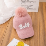 Autumn And Winter Children Caps Cotton Letter Embroidery Baseball Hats, Size: 50-52cm(Pink)