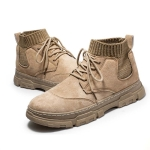 Autumn Winter Martin Boots Warm Sports Men Shoes High Casual All-Match Tooling Boots, Size: 41(Beige)