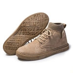 Autumn Winter High-Top Tooling Casual Shoes Youth Board Shoes  All-Match Men Sports Shoes, Size: 44(Khaki)
