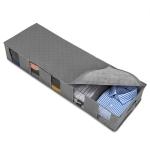 2 PCS Non-Woven Bed Storage Box Foldable Quilt Clothes Dust-Proof & Moisture-Proof Storage Bag, Size: 97x33x15cm(Gray)