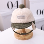 MZ9835 Letter Mark Children Hat Autumn and Winter Bomber Hat Warm Cap, Size: 50cm Adjustable(Dark Green)
