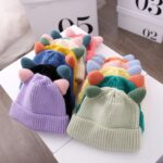 MZ9868 Double Horn Cartoon Baby Knitted Hat Autumn and Winter Woolen Hat, Size: One Size(Turmeric)