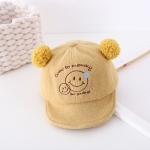 MZ9884 Cartoon Smiley Embroidery Pattern Children Autumn and Winter Soft Brim Hat, Size: 48cm Adjustable(Yellow)