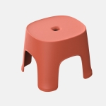 2 PCS Household Bathroom Row Stools Plastic Stools Thickened Low Stools Square Stools Small Benches, Colour: Retro Red Adult