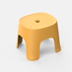 2 PCS Household Bathroom Row Stools Plastic Stools Thickened Low Stools Square Stools Small Benches, Colour: Maple Yellow Adult