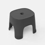 2 PCS Household Bathroom Row Stools Plastic Stools Thickened Low Stools Square Stools Small Benches, Colour: Black Adult