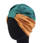 3 PCS TJM-433 Double Layer Elastic Headscarf Hat Silk Night Cap Hair Care Cap Chemotherapy Hat, Size:  M (56-58cm)(Green Khaki)