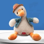 Repeat Duck Tricky Duck Learn Talking Singing Plush Duck Toy, Style:Battery Powered