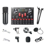 V8S Sound Card Mobile Phone Computer Anchor Live K Song Recording Microphone, Specification:V8S  + Black Bet BM700 Set